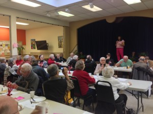 Commissioner Loretta Smith fields questions at the February pancake breakfast.